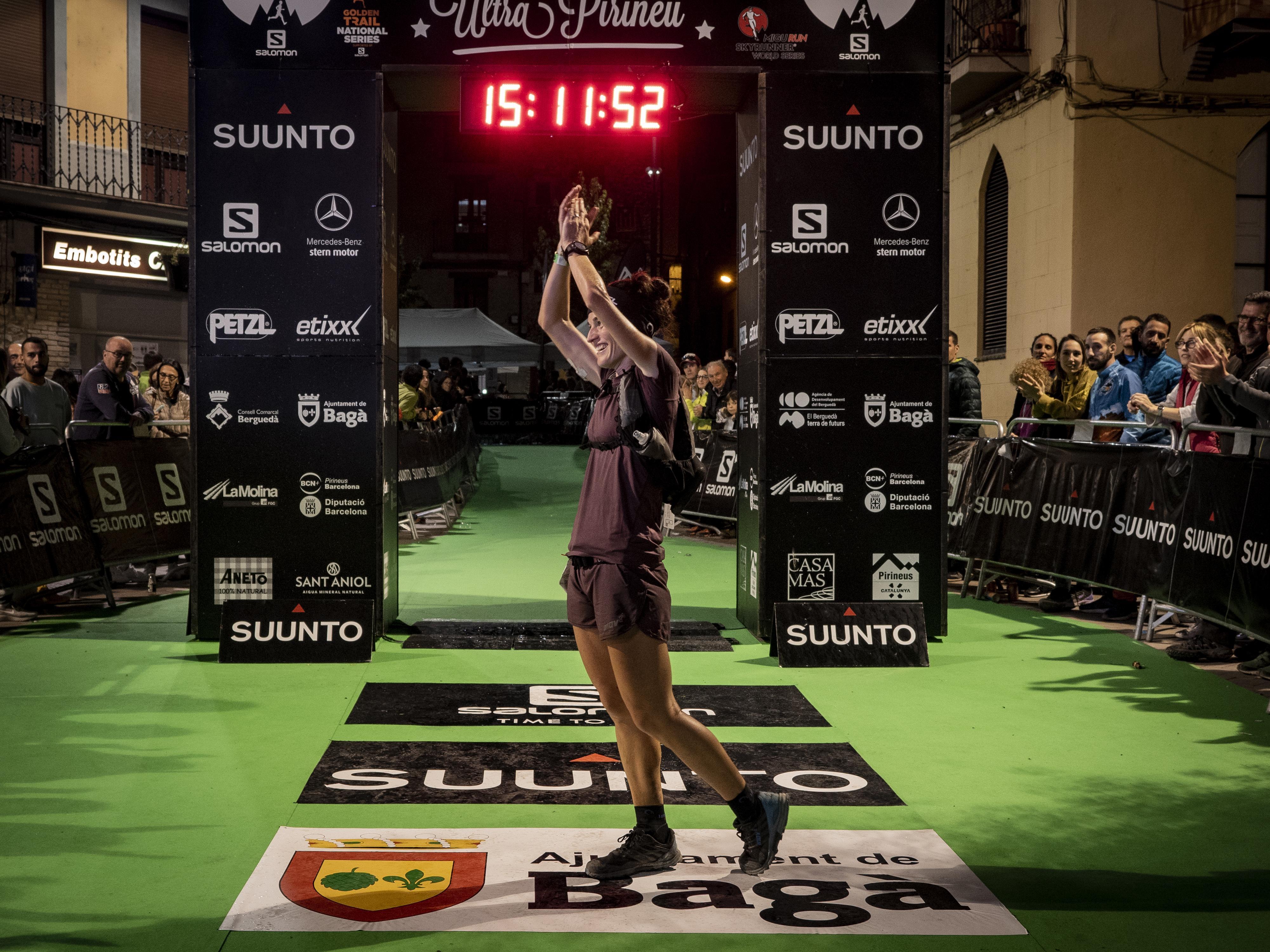La berguedana Judit Franch, a l'arribada de l'Ultra Pirineu 2019. FOTO: Anna E. Puig